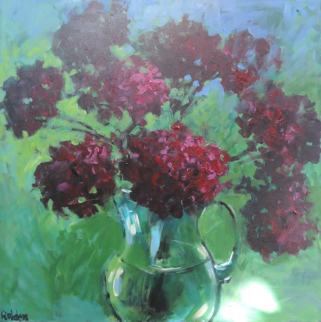 Dark Red Hydrangeas canvas - Lynn Golden